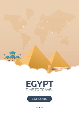 Egypt. Time to travel. Travel poster. Vector flat illustration Illustration