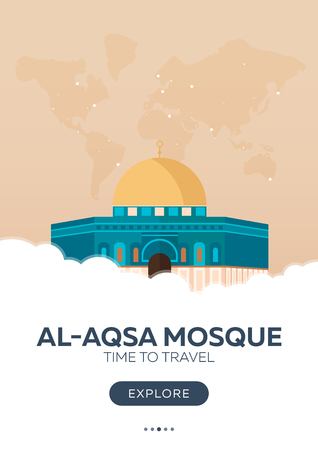 Israel. Al-Aqsa Mosque. Time to travel. Travel poster. Vector flat illustration Illustration