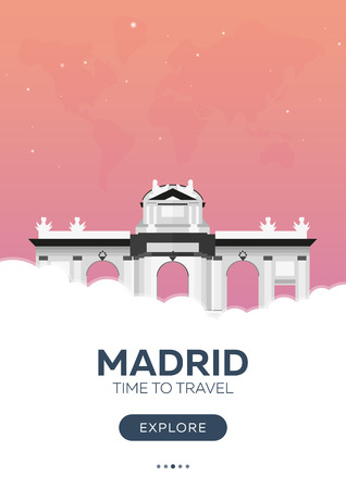 Spain. Madrid. Time to travel. Travel poster Vector flat illustration