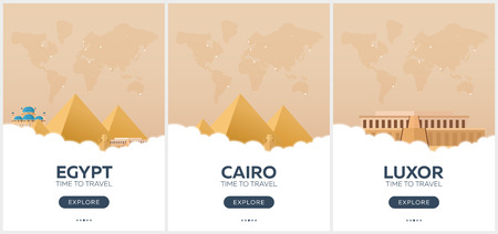 Egypt. Time to travel. Set of Travel posters. Vector flat illustration