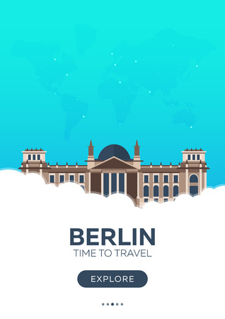 Germany. Berlin. Time to travel. Travel poster Vector flat illustration