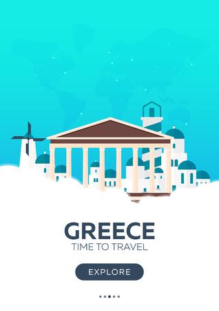Greece. Time to travel. Travel poster. Vector flat illustration Illustration