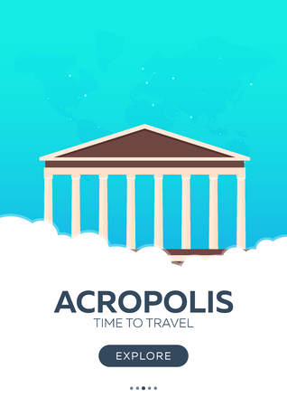 Greece. Acropolis. Time to travel. Travel poster Vector flat illustration