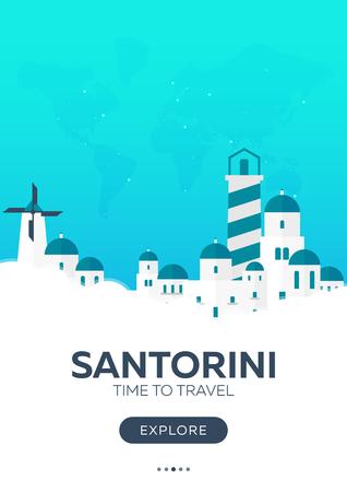building site: Greece. Santorini. Time to travel. Travel poster Vector flat illustration