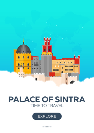 Portugal. Palace of Sintra. Time to travel. Travel poster. Vector flat illustration Vector Illustration
