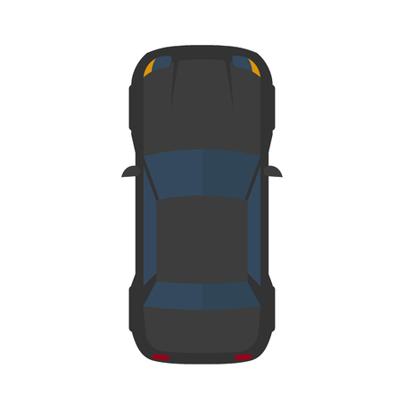 Vector illustration of modern flat black car
