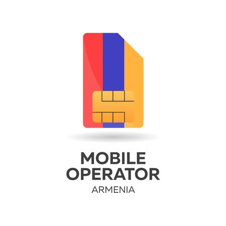gsm: Armenia mobile operator. SIM card with flag. Vector illustration