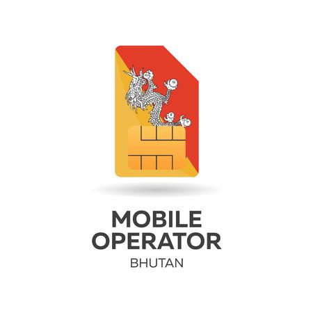 bhutan: Bhutan mobile operator. SIM card with flag. Vector illustration. Illustration