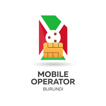 Burundi mobile operator. SIM card with flag. Vector illustration.