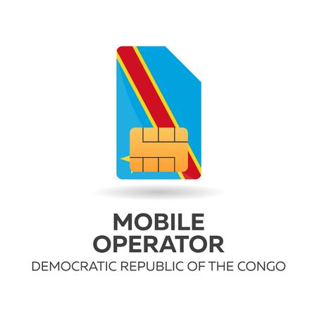 Democratic Republic of the Congo mobile operator. SIM card with flag. Vector illustration.