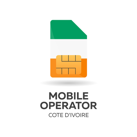 Cote Divoire mobile operator. SIM card with flag. Vector illustration.