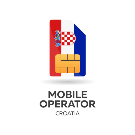 Croatia mobile operator. SIM card with flag. Vector illustration.