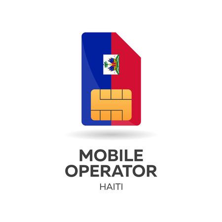 Haiti mobile operator. SIM card with flag. Vector illustration. Illustration