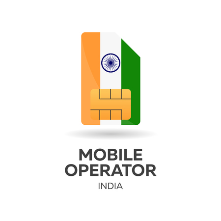 smart card: india mobile operator. SIM card with flag. Vector illustration