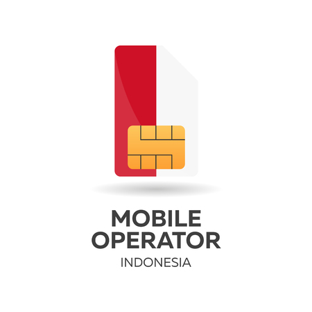 smart card: Indonesia mobile operator. SIM card with flag. Vector illustration