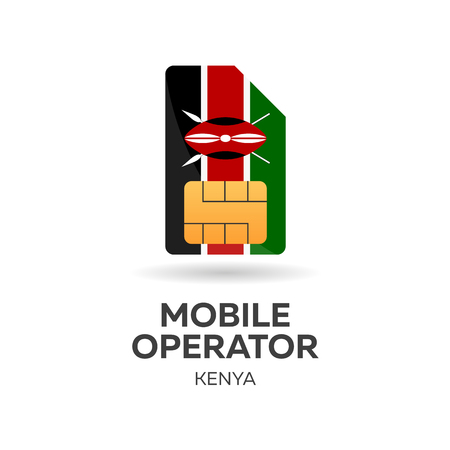 smart card: Kenya mobile operator. SIM card with flag. Vector illustration Illustration