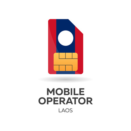 gsm: Laos mobile operator. SIM card with flag. Vector illustration