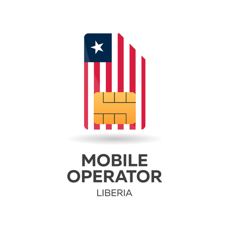 smart card: Liberia mobile operator. SIM card with flag. Vector illustration