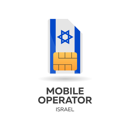 gsm: Israel mobile operator. SIM card with flag. Vector illustration
