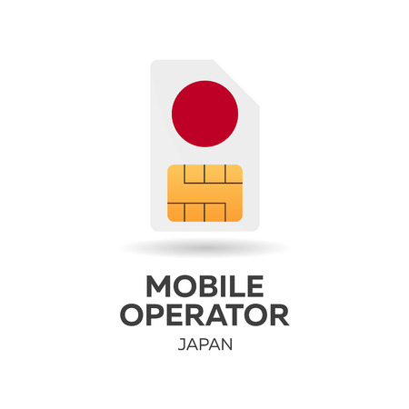 Japan mobile operator. SIM card with flag. Vector illustration