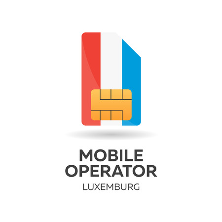 smart card: Luxemburg mobile operator. SIM card with flag. Vector illustration