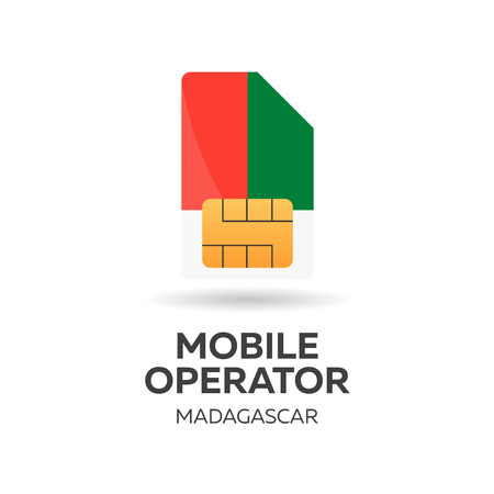 smart card: Madagascar mobile operator. SIM card with flag. Vector illustration