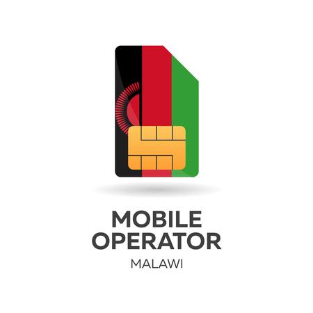 gsm: Malawi mobile operator. SIM card with flag. Vector illustration
