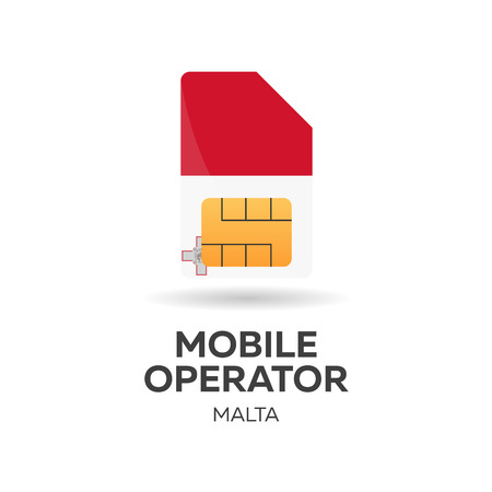 smart card: Malta mobile operator. SIM card with flag. Vector illustration