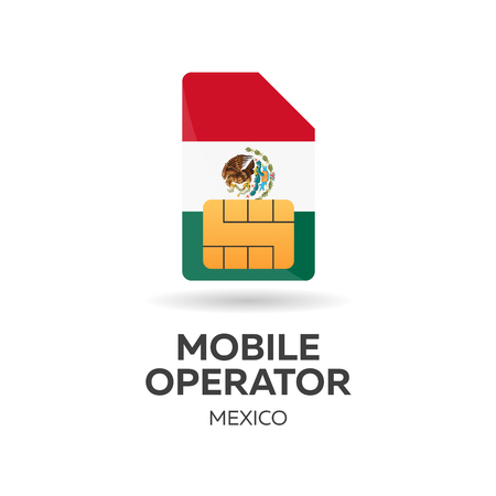 gsm: Mexico mobile operator. SIM card with flag. Vector illustration