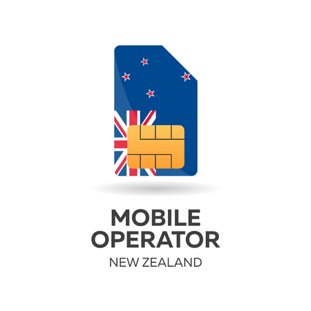 New Zealand mobile operator. SIM card with flag. Vector illustration