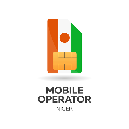 Niger mobile operator. SIM card with flag. Vector illustration