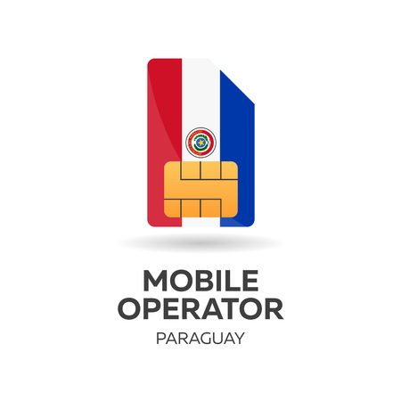Paraguay mobile operator. SIM card with flag. Vector illustration