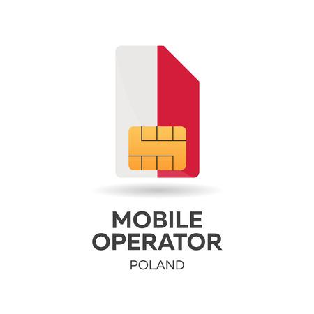 Poland mobile operator. SIM card with flag. Vector illustration Illustration