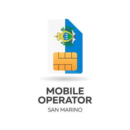 San Marino mobile operator. SIM card with flag. Vector illustration