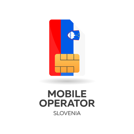 Slovenia mobile operator. SIM card with flag. Vector illustration