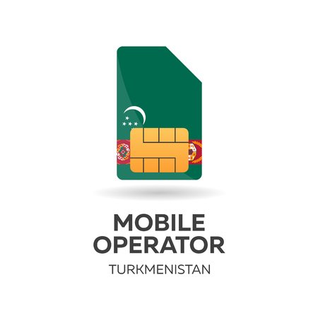Turkmenistan mobile operator. SIM card with flag. Vector illustration