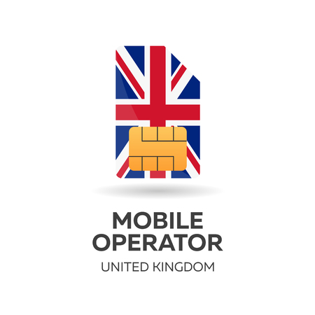 United Kingdom mobile operator. SIM card with flag. Vector illustration Illustration