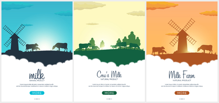 Set of Poster Milk natural product. Rural landscape with mill and cows. Dawn in the village