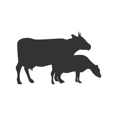Vaca silueta negro. Diseño del vector icono de la ilustración