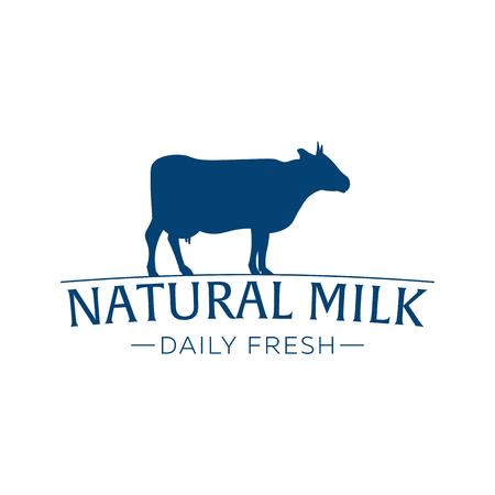 Milk emblem, labels, logo and design elements. Fresh and natural milk. Milk farm. Cow milk. Vector logotype design Illustration
