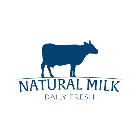 Milk emblem, labels, logo and design elements. Fresh and natural milk. Milk farm. Cow milk. Vector logotype design Illusztráció