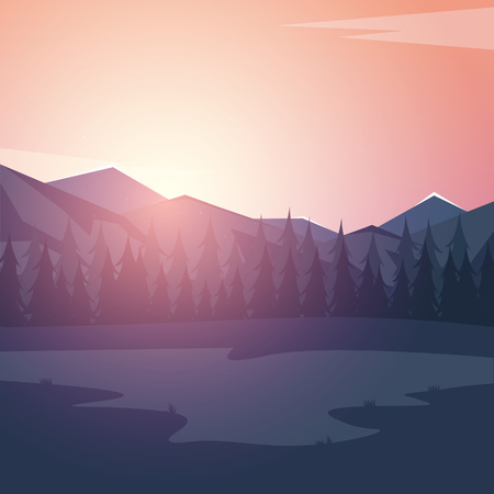 Nature mountains landscape. Rocky mountains and pine forest. Evening Illustration