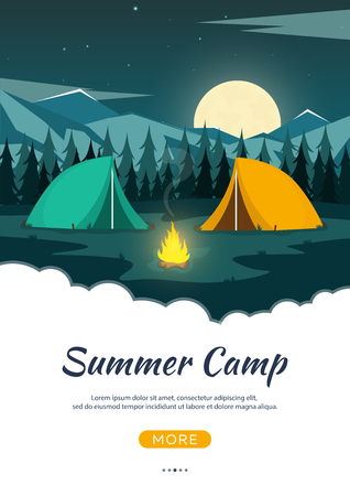 Summer camp. Night Camping. Campfire. Pine forest and rocky mountains. Starry night and moonlight. Nature landscape Illustration