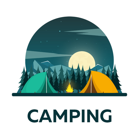 starry night: Summer camp. Night Camping. Campfire. Pine forest and rocky mountains. Starry night and moonlight. Nature landscape Illustration
