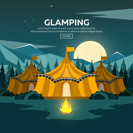 Glamping。容姿の美しさのキャンプ。キャンプファイヤー。松林とロッキー山脈。夕方キャンプ  イラスト・ベクター素材