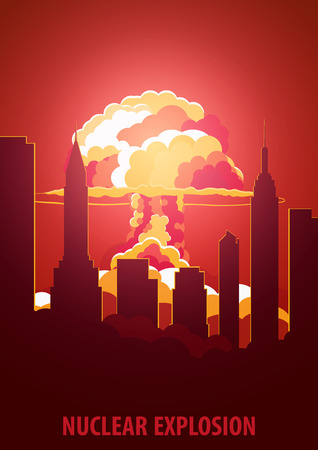 Nuclear Explosion. Cartoon Retro poster. Mushroom cloud. Vector illustration Illustration