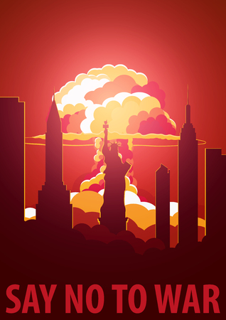 Nuclear Explosion in the city. USA Say no to war. Cartoon Retro poster. Vector illustration Illustration