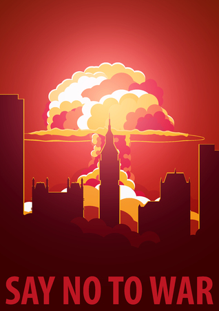 no nuclear: Nuclear Explosion in the city. UK Say no to war. Cartoon Retro poster. Vector illustration