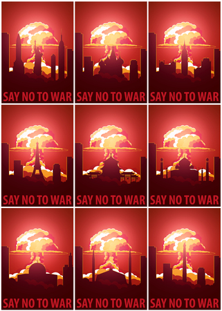 rising dead: Nuclear Explosion in the city. Say no to war. Set of the Cartoon Retro poster. Vector illustration