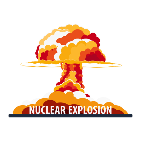 Nuclear explosion on a white background